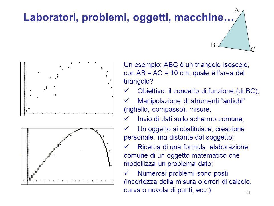 11 Un esempio: ABC è un triangolo isoscele, con AB = AC = 10 cm, quale è larea del triangolo.