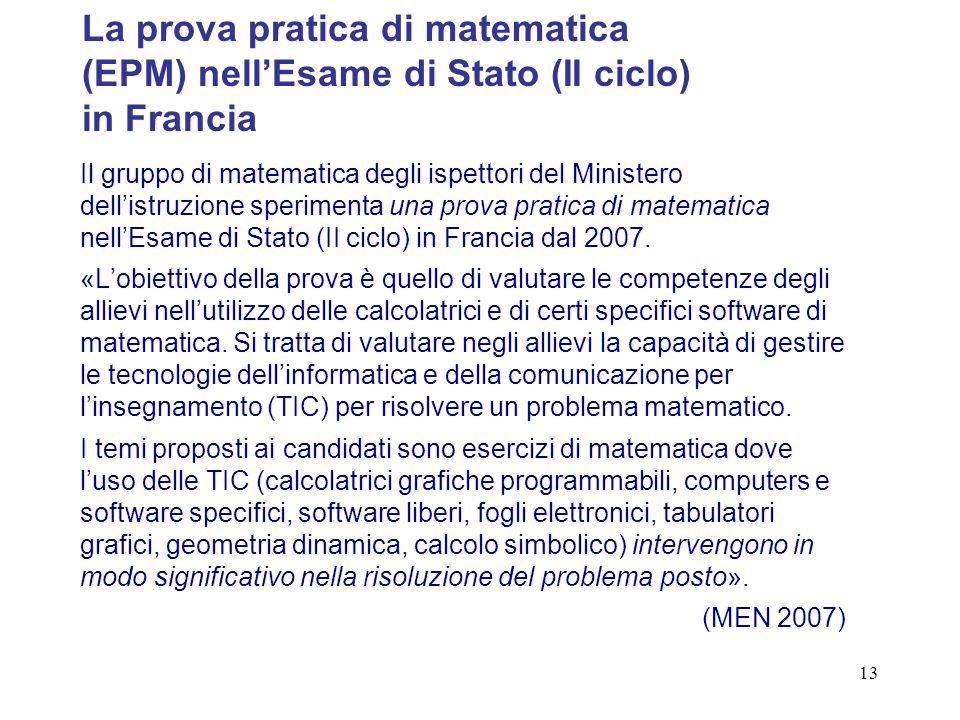13 Il gruppo di matematica degli ispettori del Ministero dellistruzione sperimenta una prova pratica di matematica nellEsame di Stato (II ciclo) in Francia dal 2007.
