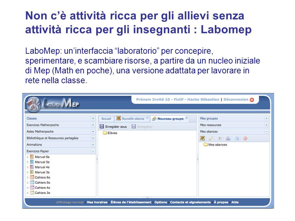 19 LaboMep: uninterfaccia laboratorio per concepire, sperimentare, e scambiare risorse, a partire da un nucleo iniziale di Mep (Math en poche), una versione adattata per lavorare in rete nella classe.