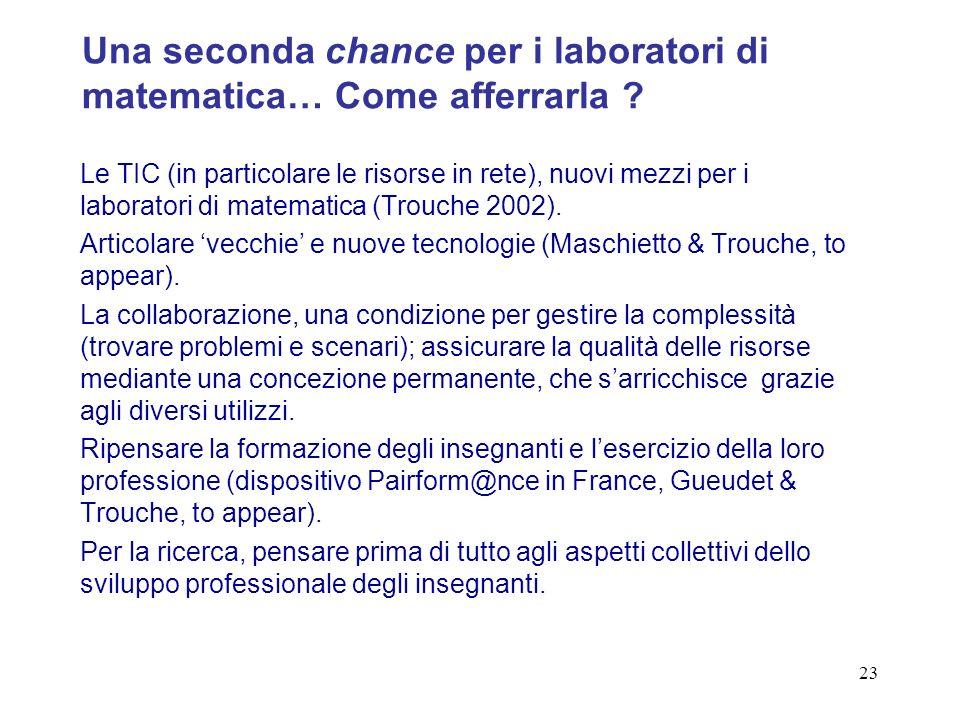 23 Le TIC (in particolare le risorse in rete), nuovi mezzi per i laboratori di matematica (Trouche 2002).