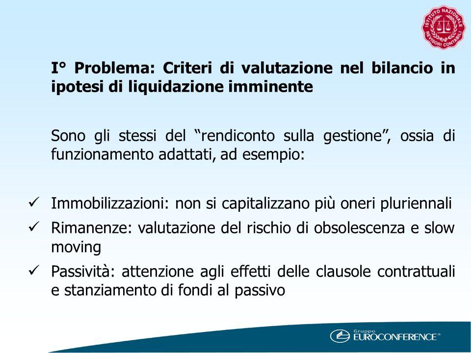 I° Problema: Criteri di valutazione nel bilancio in ipotesi di liquidazione imminente Sono gli stessi del rendiconto sulla gestione, ossia di funziona