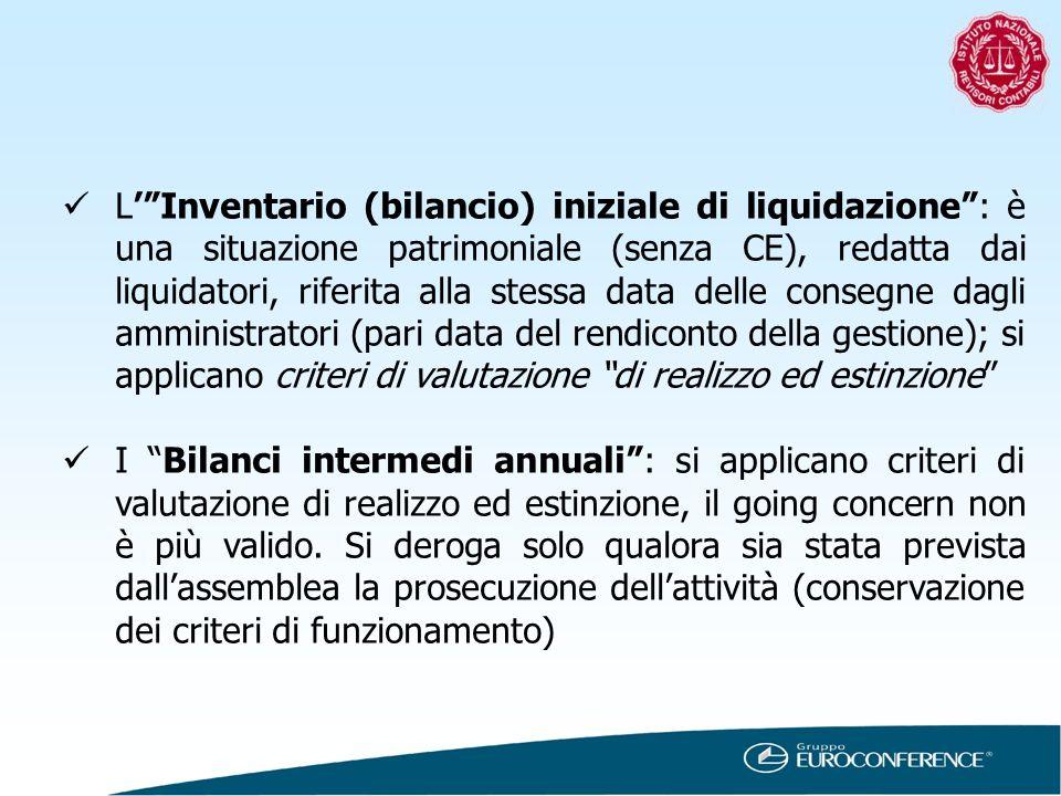 LInventario (bilancio) iniziale di liquidazione: è una situazione patrimoniale (senza CE), redatta dai liquidatori, riferita alla stessa data delle co
