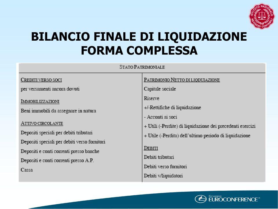 BILANCIO FINALE DI LIQUIDAZIONE FORMA COMPLESSA