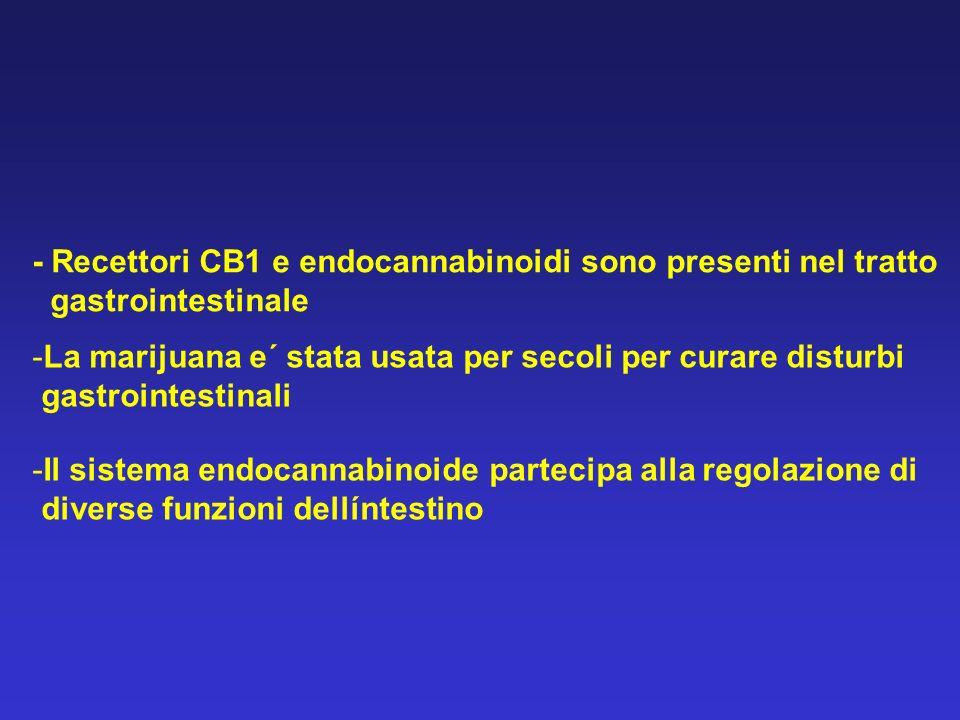 - Recettori CB1 e endocannabinoidi sono presenti nel tratto gastrointestinale -La marijuana e´ stata usata per secoli per curare disturbi gastrointest