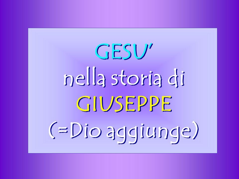GESU nella storia di GIUSEPPE (=Dio aggiunge)
