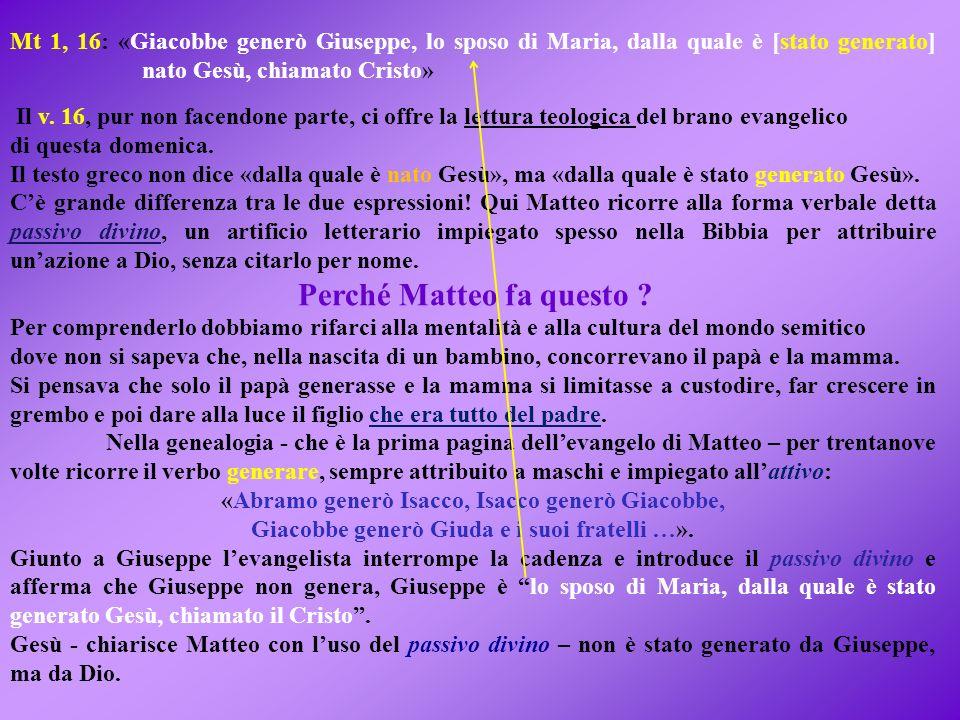 Mt 1, 16: «Giacobbe generò Giuseppe, lo sposo di Maria, dalla quale è [stato generato] nato Gesù, chiamato Cristo» Il v.