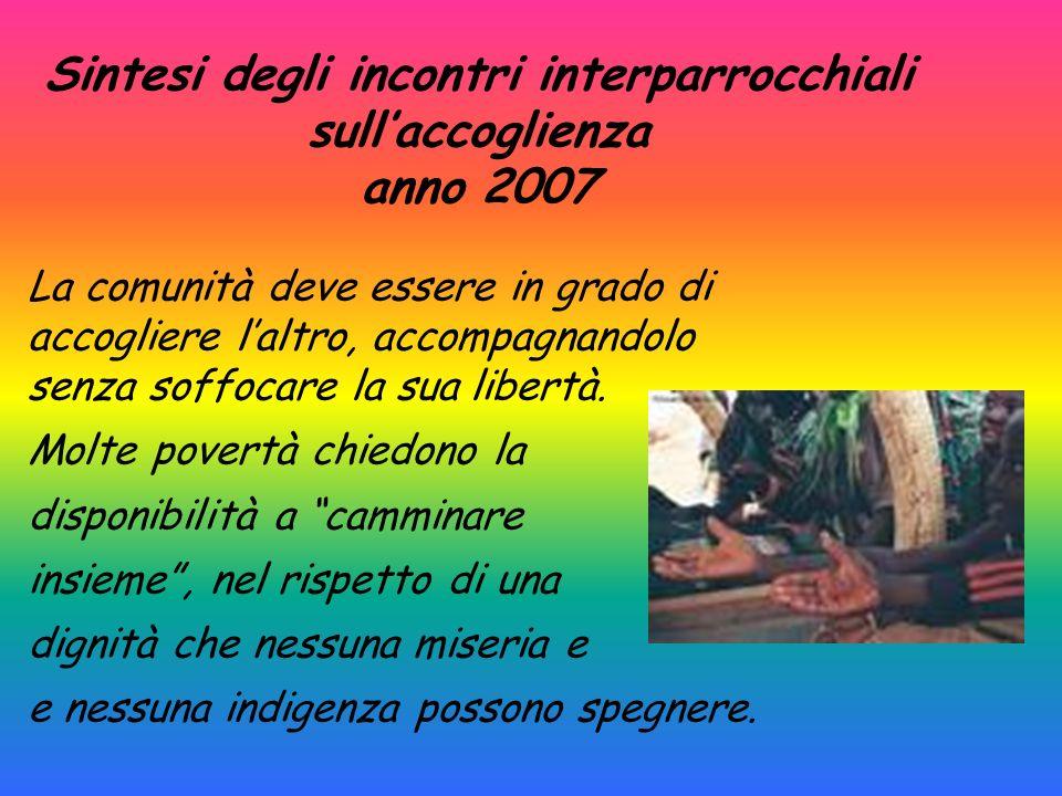 Sintesi degli incontri interparrocchiali sullaccoglienza anno 2007 La comunità deve essere in grado di accogliere laltro, accompagnandolo senza soffoc