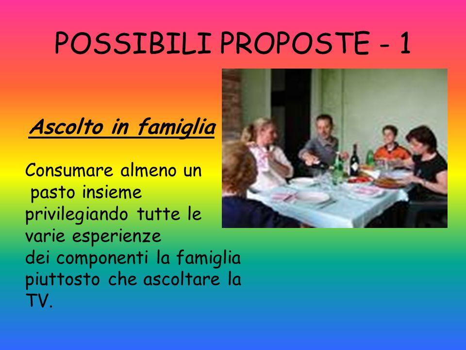 POSSIBILI PROPOSTE - 1 Ascolto in famiglia Consumare almeno un pasto insieme privilegiando tutte le varie esperienze dei componenti la famiglia piutto