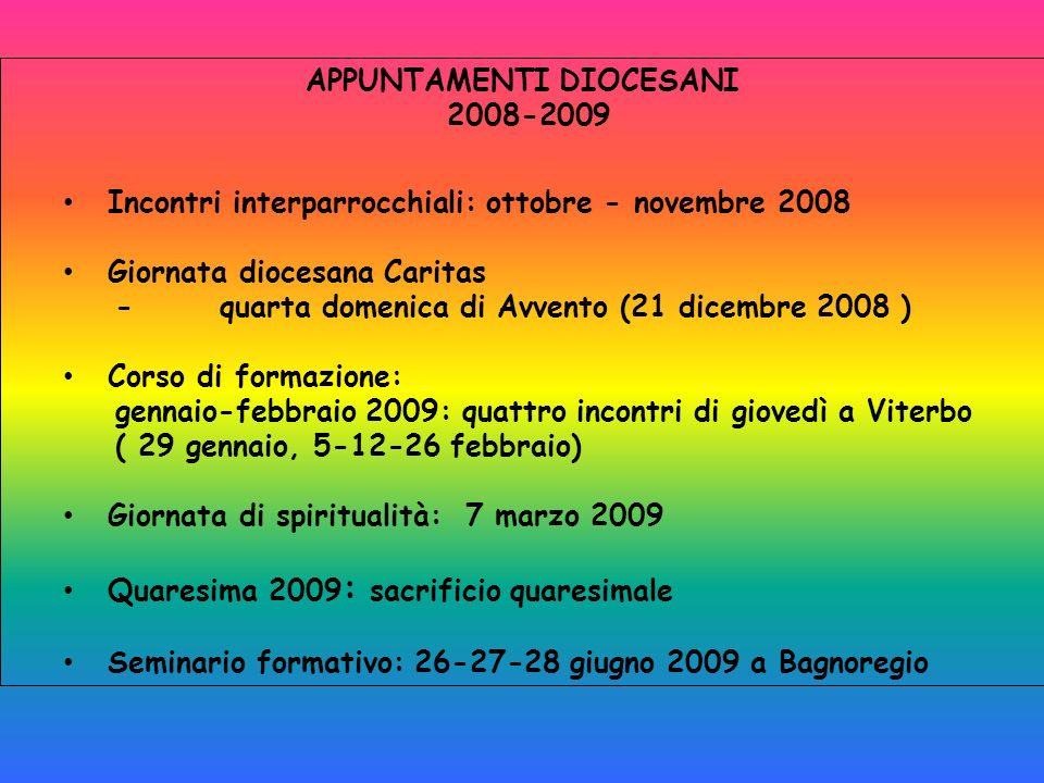 APPUNTAMENTI DIOCESANI 2008-2009 Incontri interparrocchiali: ottobre - novembre 2008 Giornata diocesana Caritas -quarta domenica di Avvento (21 dicemb