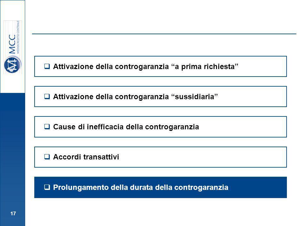 17 Attivazione della controgaranzia sussidiaria Attivazione della controgaranzia a prima richiesta Cause di inefficacia della controgaranzia Prolungam