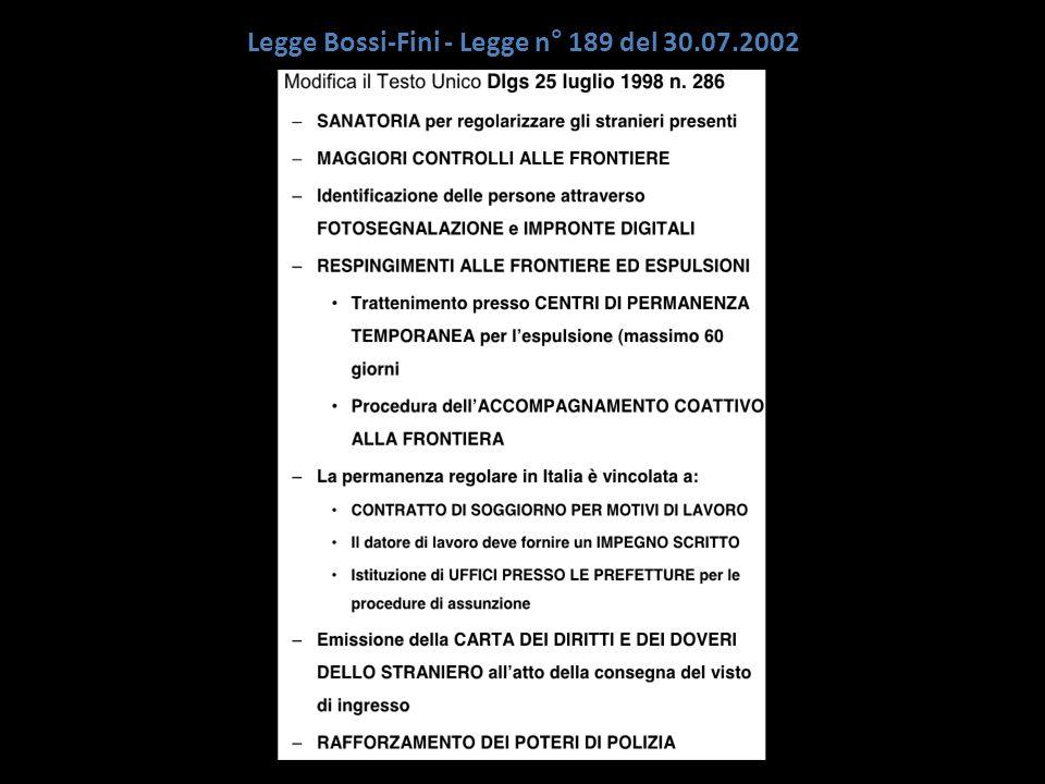 Legge Bossi-Fini - Legge n° 189 del 30.07.2002