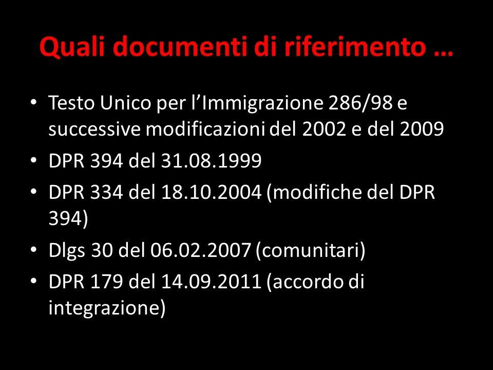 Quali documenti di riferimento … Testo Unico per lImmigrazione 286/98 e successive modificazioni del 2002 e del 2009 DPR 394 del 31.08.1999 DPR 334 del 18.10.2004 (modifiche del DPR 394) Dlgs 30 del 06.02.2007 (comunitari) DPR 179 del 14.09.2011 (accordo di integrazione)