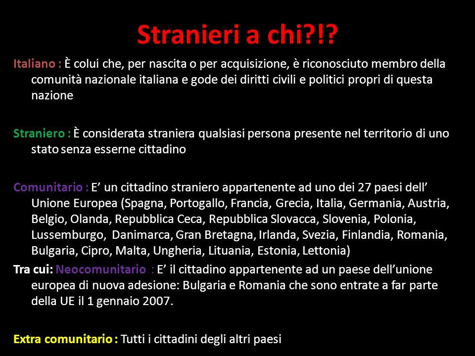 Stranieri a chi?!? Italiano : È colui che, per nascita o per acquisizione, è riconosciuto membro della comunità nazionale italiana e gode dei diritti