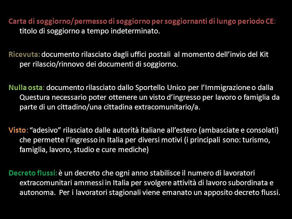 Carta di soggiorno/permesso di soggiorno per soggiornanti di lungo periodo CE: titolo di soggiorno a tempo indeterminato.