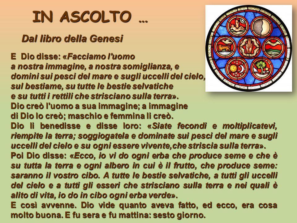 IN ASCOLTO … IN ASCOLTO … Dal libro della Genesi Dal libro della Genesi E Dio disse: «Facciamo l'uomo a nostra immagine, a nostra somiglianza, e domin