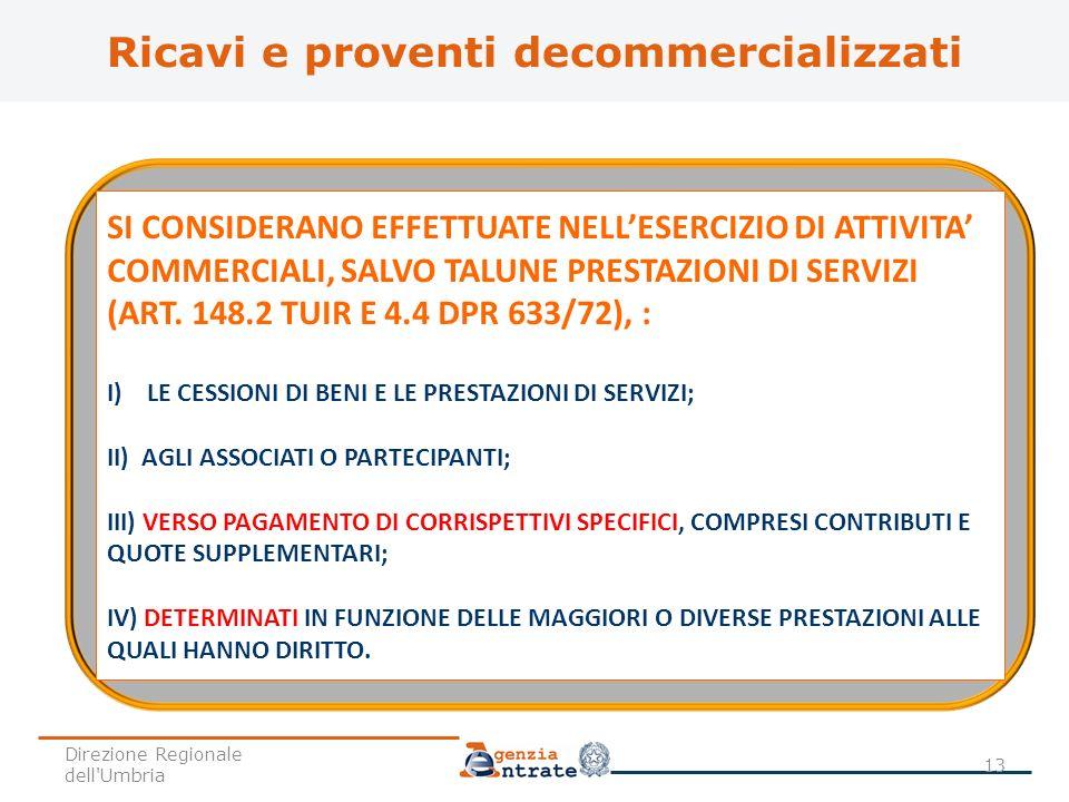 SI CONSIDERANO EFFETTUATE NELLESERCIZIO DI ATTIVITA COMMERCIALI, SALVO TALUNE PRESTAZIONI DI SERVIZI (ART. 148.2 TUIR E 4.4 DPR 633/72), : I) LE CESSI