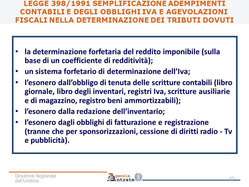 la determinazione forfetaria del reddito imponibile (sulla base di un coefficiente di redditività); un sistema forfetario di determinazione dellIva; l