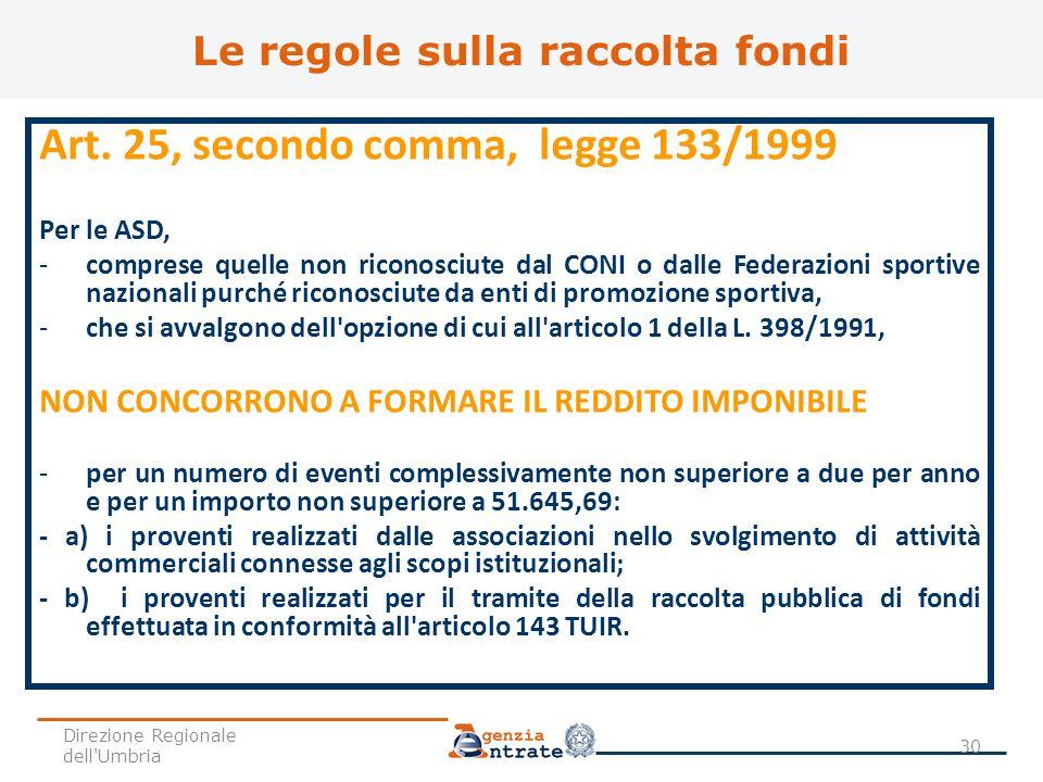 Art. 25, secondo comma, legge 133/1999 Per le ASD, -comprese quelle non riconosciute dal CONI o dalle Federazioni sportive nazionali purché riconosciu