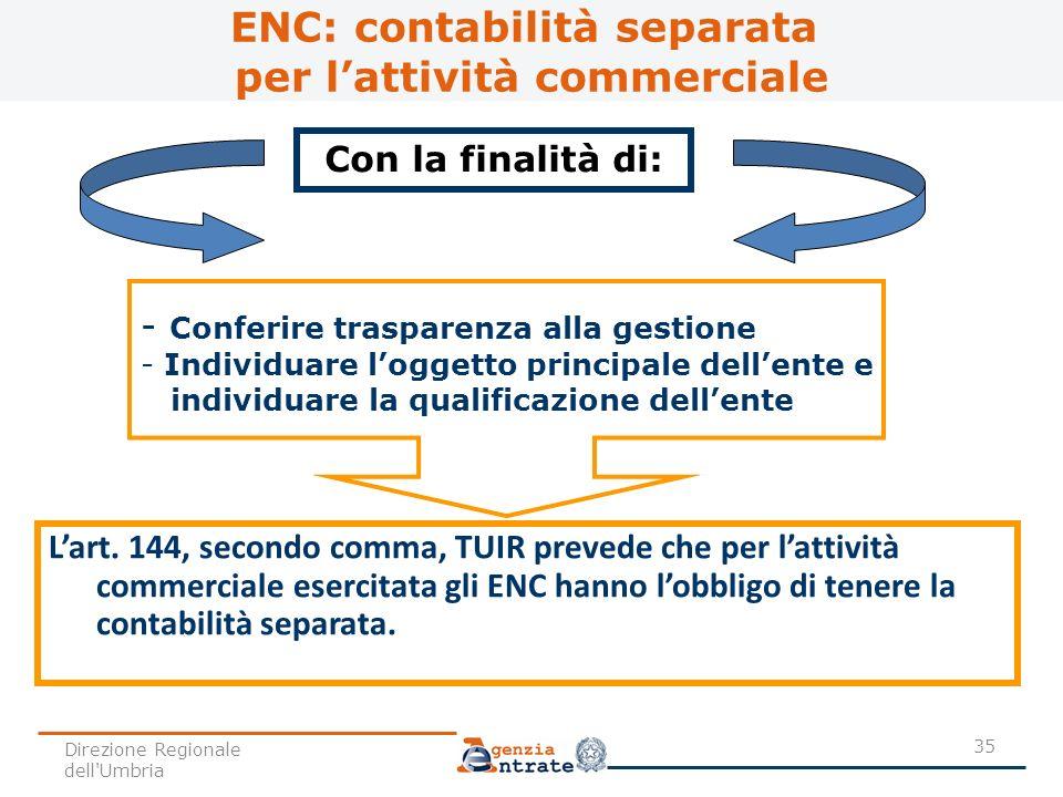Lart. 144, secondo comma, TUIR prevede che per lattività commerciale esercitata gli ENC hanno lobbligo di tenere la contabilità separata. Con la final