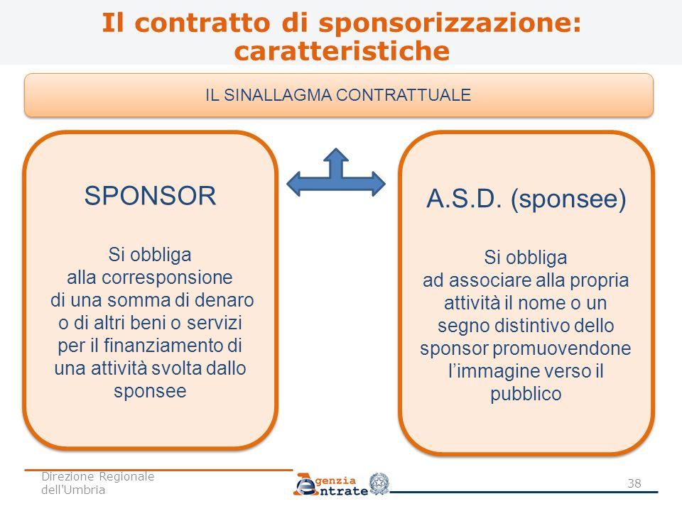 Il contratto di sponsorizzazione: caratteristiche 38 IL SINALLAGMA CONTRATTUALE SPONSOR Si obbliga alla corresponsione di una somma di denaro o di alt