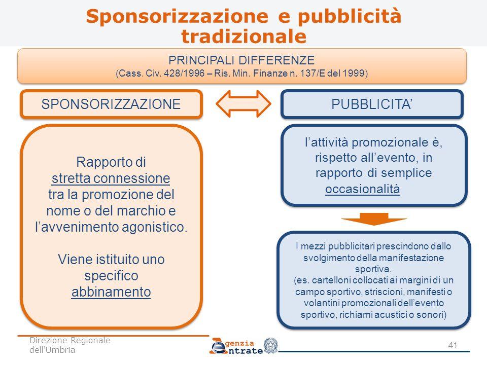 Sponsorizzazione e pubblicità tradizionale 41 PRINCIPALI DIFFERENZE (Cass. Civ. 428/1996 – Ris. Min. Finanze n. 137/E del 1999) PRINCIPALI DIFFERENZE