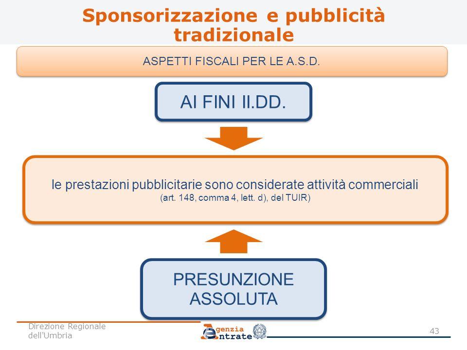 Sponsorizzazione e pubblicità tradizionale 43 ASPETTI FISCALI PER LE A.S.D. PRESUNZIONE ASSOLUTA AI FINI II.DD. le prestazioni pubblicitarie sono cons