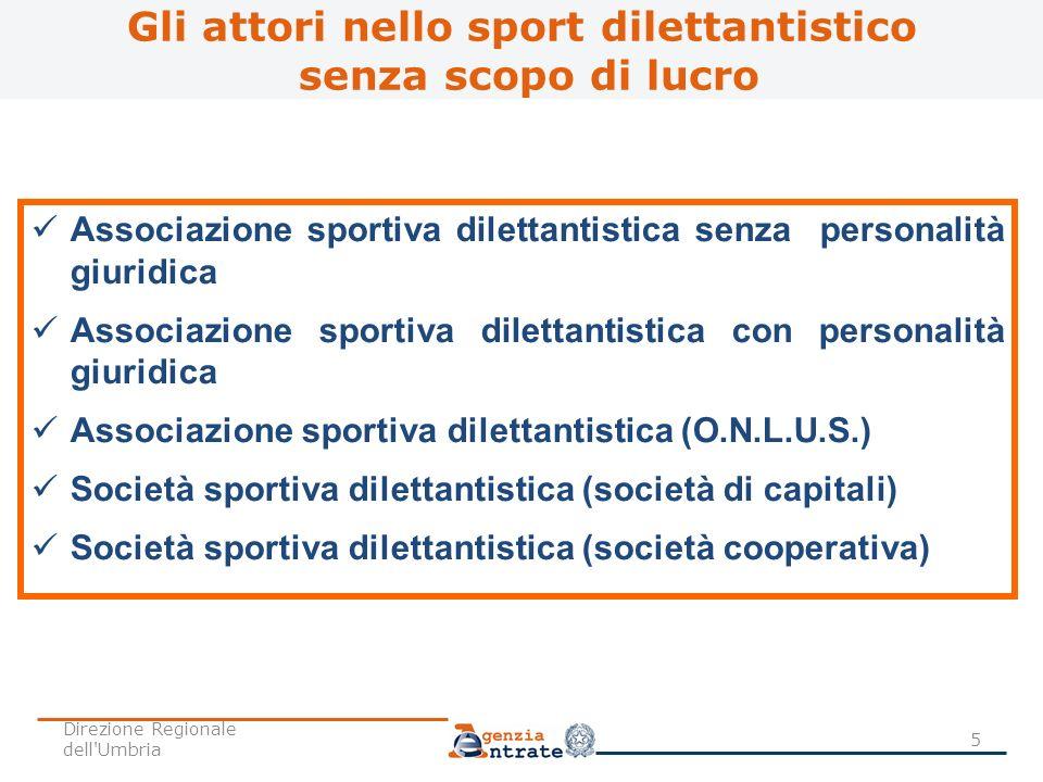 Gli attori nello sport dilettantistico senza scopo di lucro Associazione sportiva dilettantistica senza personalità giuridica Associazione sportiva di