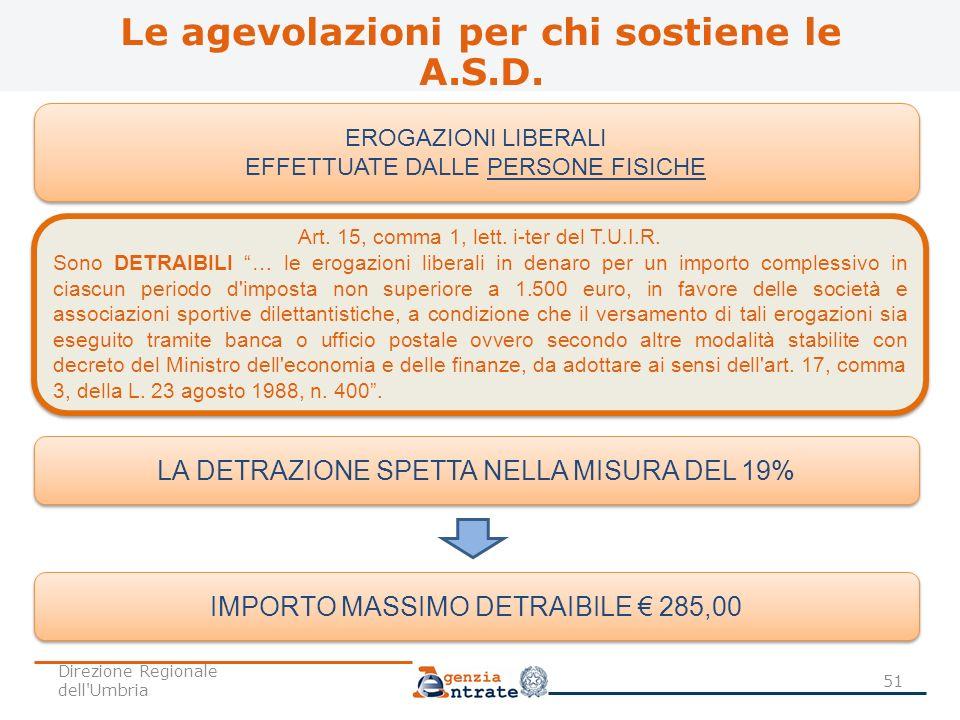 EROGAZIONI LIBERALI EFFETTUATE DALLE PERSONE FISICHE EROGAZIONI LIBERALI EFFETTUATE DALLE PERSONE FISICHE Art. 15, comma 1, lett. i-ter del T.U.I.R. S