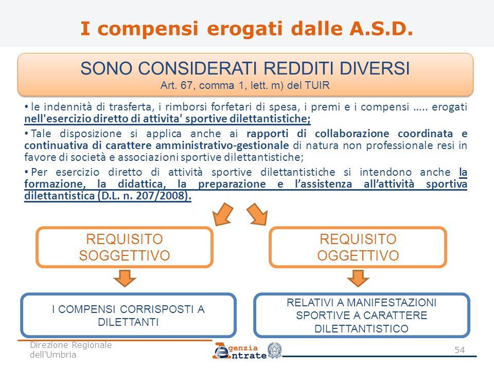 I compensi erogati dalle A.S.D. I COMPENSI CORRISPOSTI A DILETTANTI RELATIVI A MANIFESTAZIONI SPORTIVE A CARATTERE DILETTANTISTICO REQUISITO SOGGETTIV