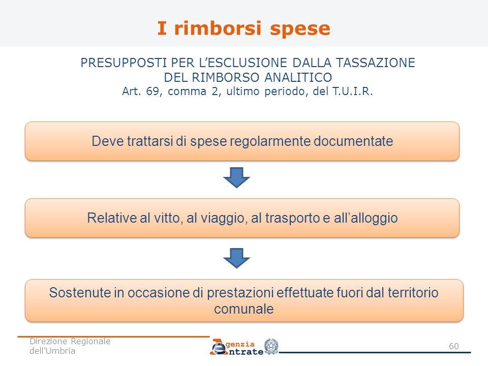I rimborsi spese PRESUPPOSTI PER LESCLUSIONE DALLA TASSAZIONE DEL RIMBORSO ANALITICO Art. 69, comma 2, ultimo periodo, del T.U.I.R. Deve trattarsi di