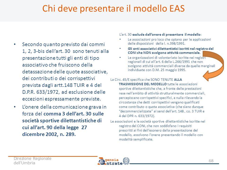 Chi deve presentare il modello EAS Secondo quanto previsto dai commi 1, 2, 3-bis dellart. 30 sono tenuti alla presentazione tutti gli enti di tipo ass