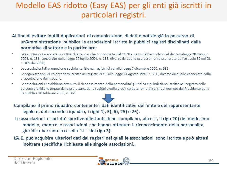Modello EAS ridotto (Easy EAS) per gli enti già iscritti in particolari registri. Al fine di evitare inutili duplicazioni di comunicazione di dati e n