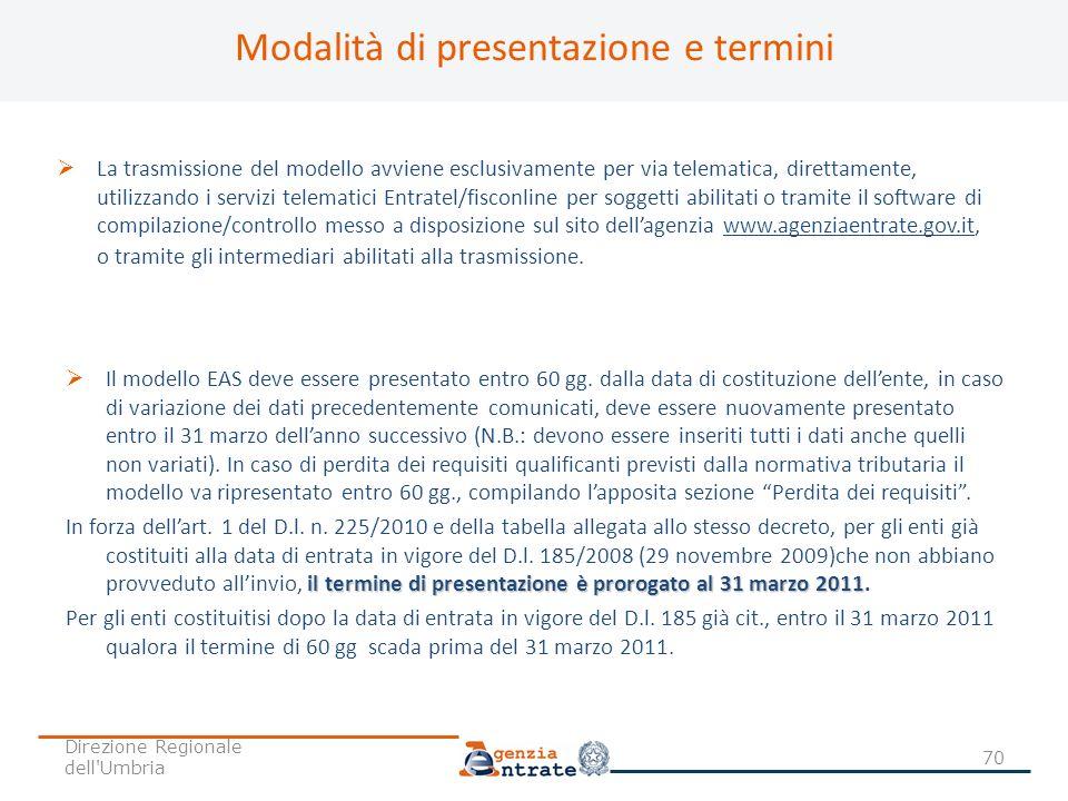 Modalità di presentazione e termini La trasmissione del modello avviene esclusivamente per via telematica, direttamente, utilizzando i servizi telemat