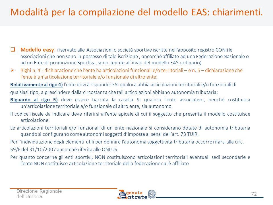 Modalità per la compilazione del modello EAS: chiarimenti. Modello easy: riservato alle Associazioni o società sportive iscritte nellapposito registro