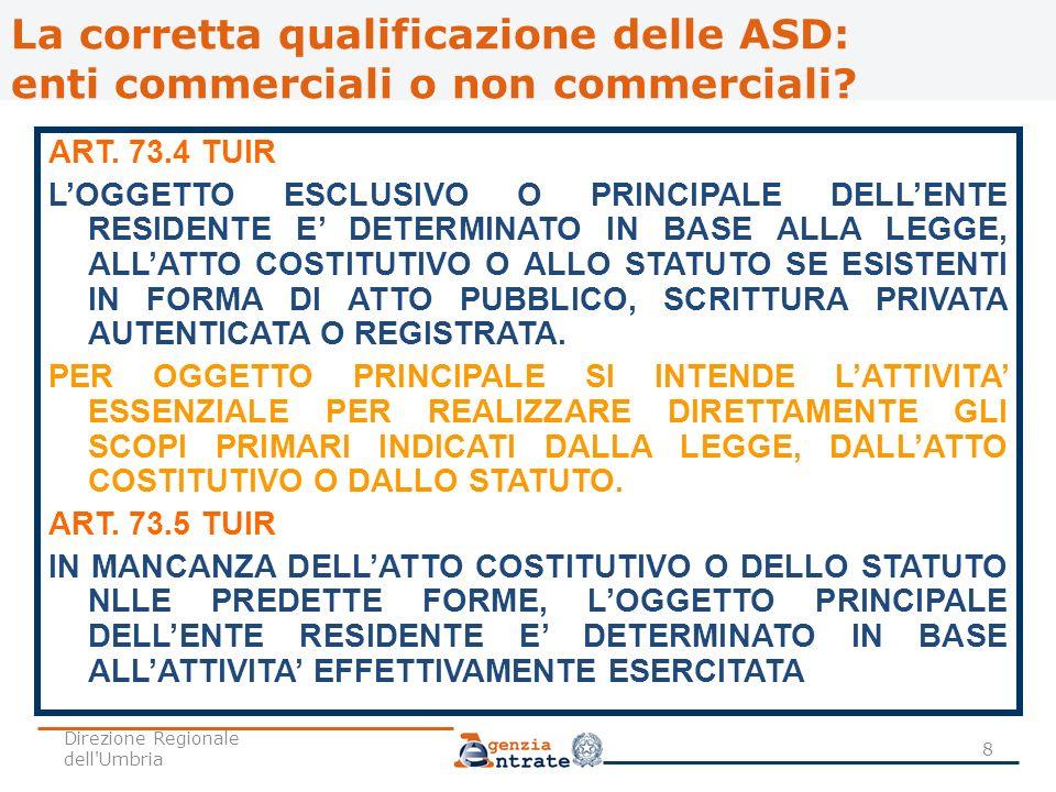 La corretta qualificazione delle ASD: enti commerciali o non commerciali? ART. 73.4 TUIR LOGGETTO ESCLUSIVO O PRINCIPALE DELLENTE RESIDENTE E DETERMIN