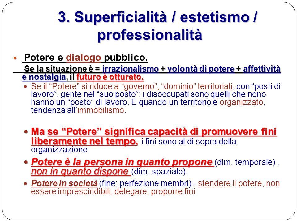 3. Superficialità / estetismo / professionalità 3. Superficialità / estetismo / professionalità Potere e dialogo pubblico. Se la situazione è = irrazi
