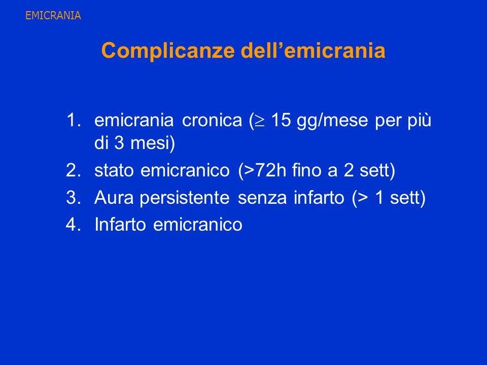Complicanze dellemicrania 1.emicrania cronica ( 15 gg/mese per più di 3 mesi) 2.stato emicranico (>72h fino a 2 sett) 3.Aura persistente senza infarto