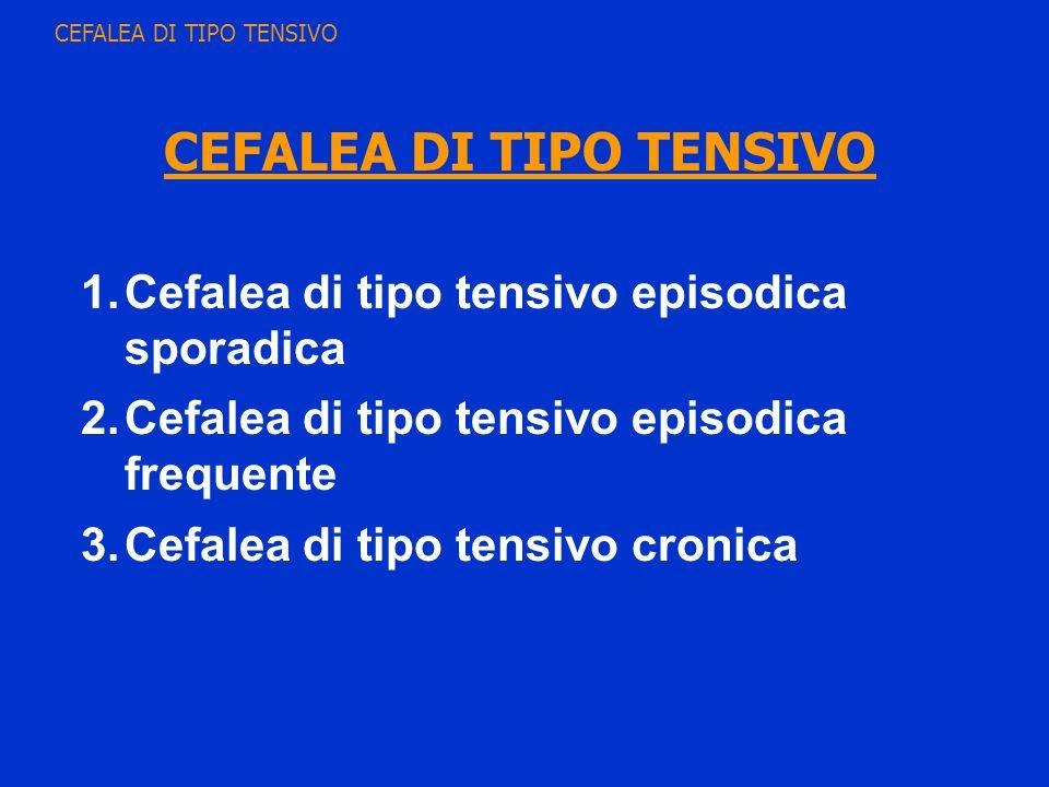 1.Cefalea di tipo tensivo episodica sporadica 2.Cefalea di tipo tensivo episodica frequente 3.Cefalea di tipo tensivo cronica CEFALEA DI TIPO TENSIVO
