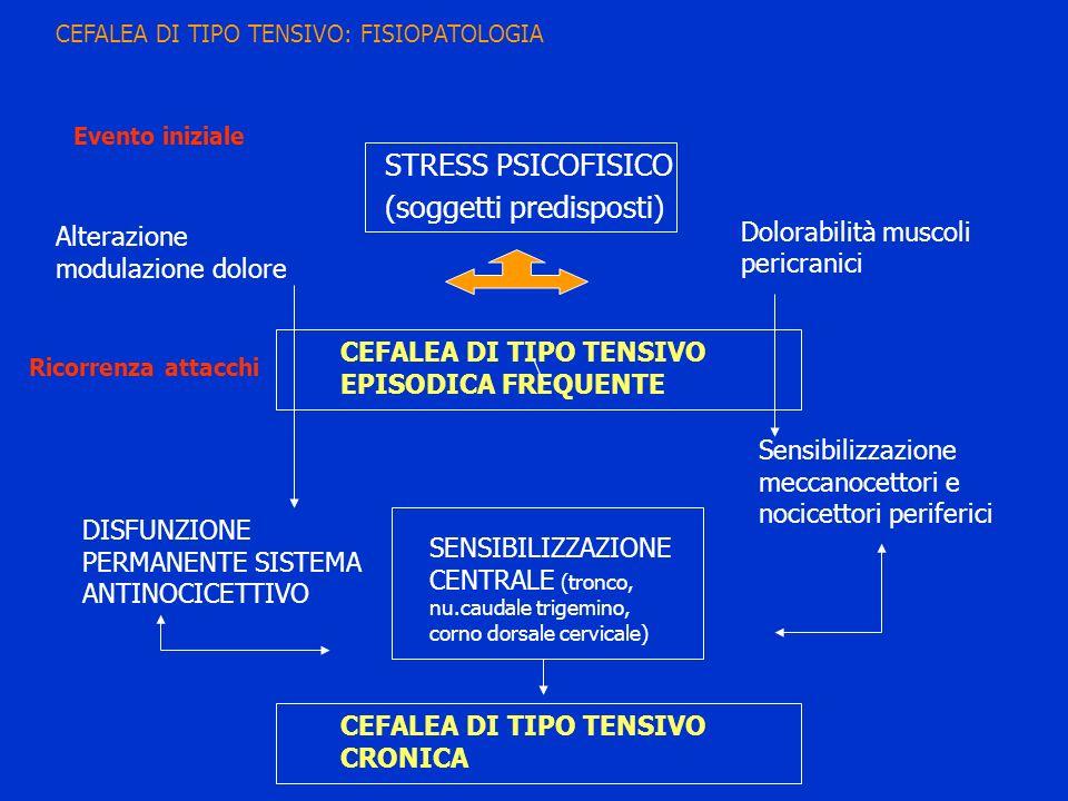 STRESS PSICOFISICO (soggetti predisposti) Alterazione modulazione dolore Dolorabilità muscoli pericranici CEFALEA DI TIPO TENSIVO EPISODICA FREQUENTE
