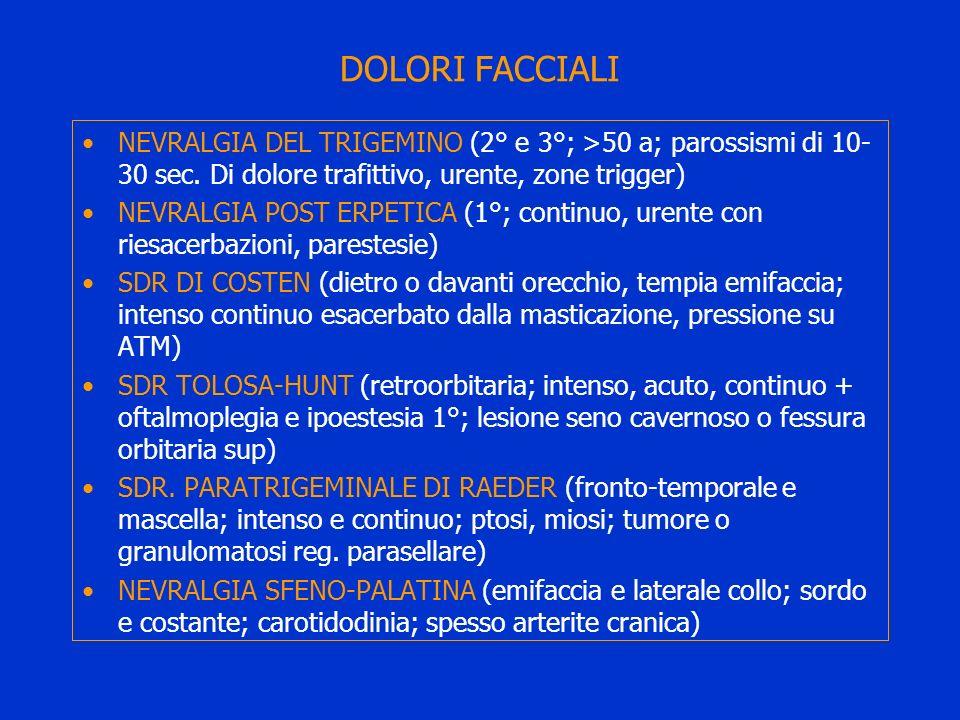 DOLORI FACCIALI NEVRALGIA DEL TRIGEMINO (2° e 3°; >50 a; parossismi di 10- 30 sec. Di dolore trafittivo, urente, zone trigger) NEVRALGIA POST ERPETICA