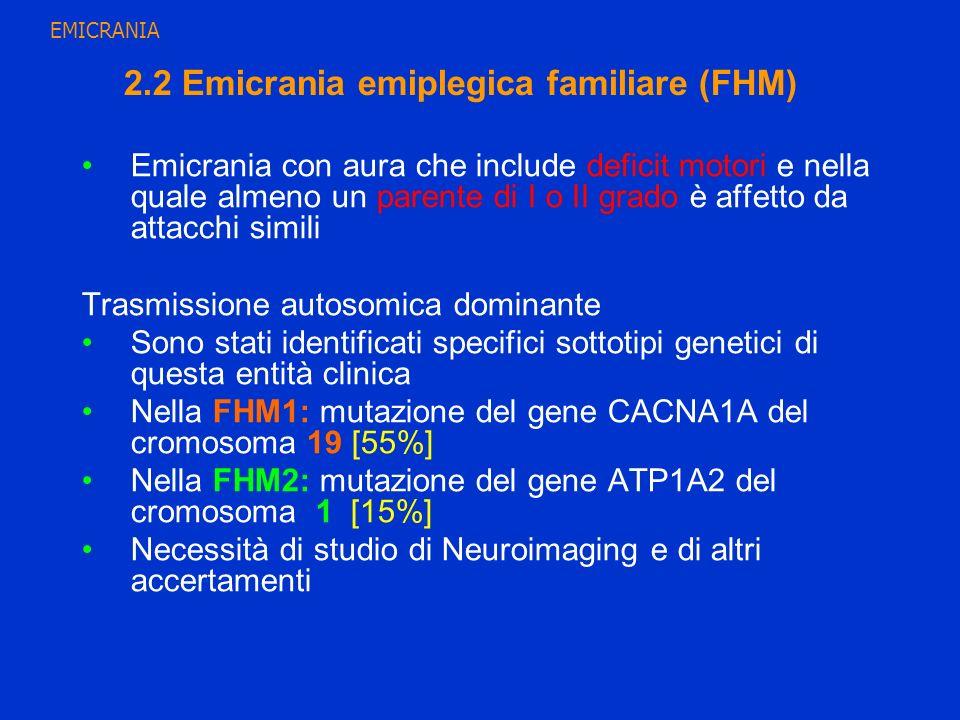 2.2 Emicrania emiplegica familiare (FHM) Emicrania con aura che include deficit motori e nella quale almeno un parente di I o II grado è affetto da at
