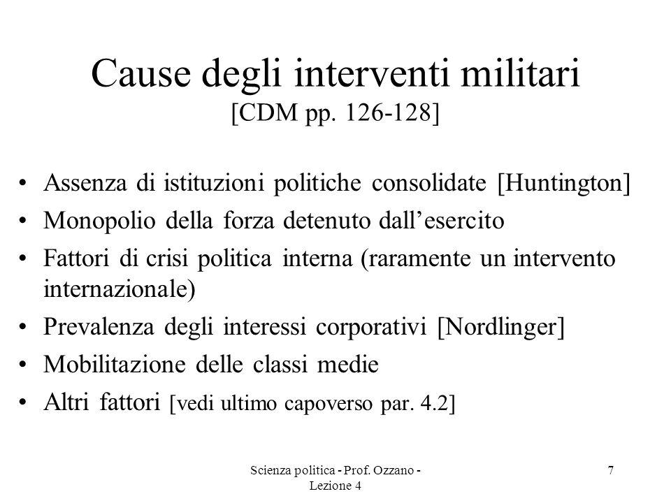 Scienza politica - Prof. Ozzano - Lezione 4 6 Tipi di regimi militari [CDM pp. 124-125] Tirannia militare (un tiranno domina lesercito e governa in ma