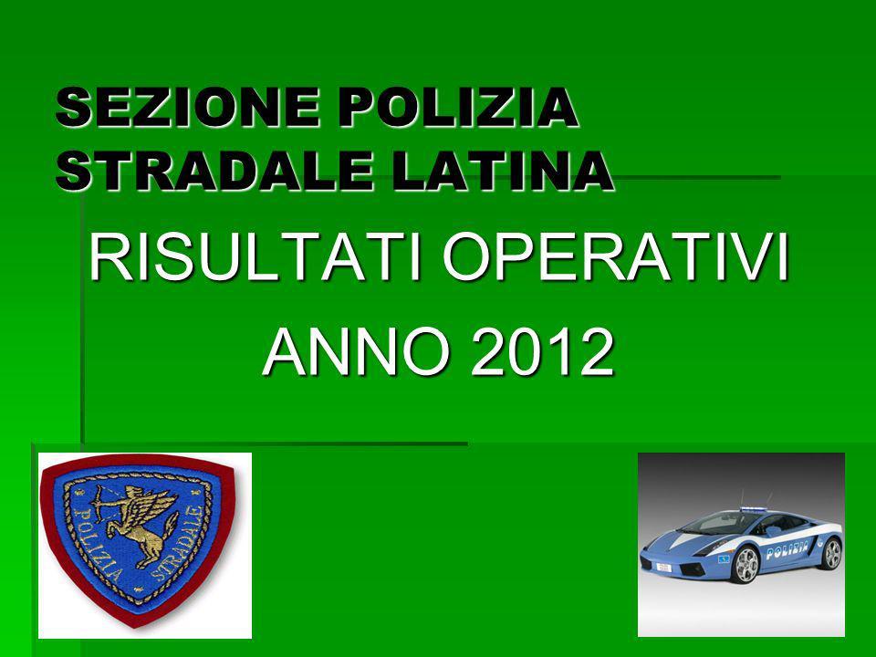 SEZIONE POLIZIA STRADALE LATINA RISULTATI OPERATIVI ANNO 2012