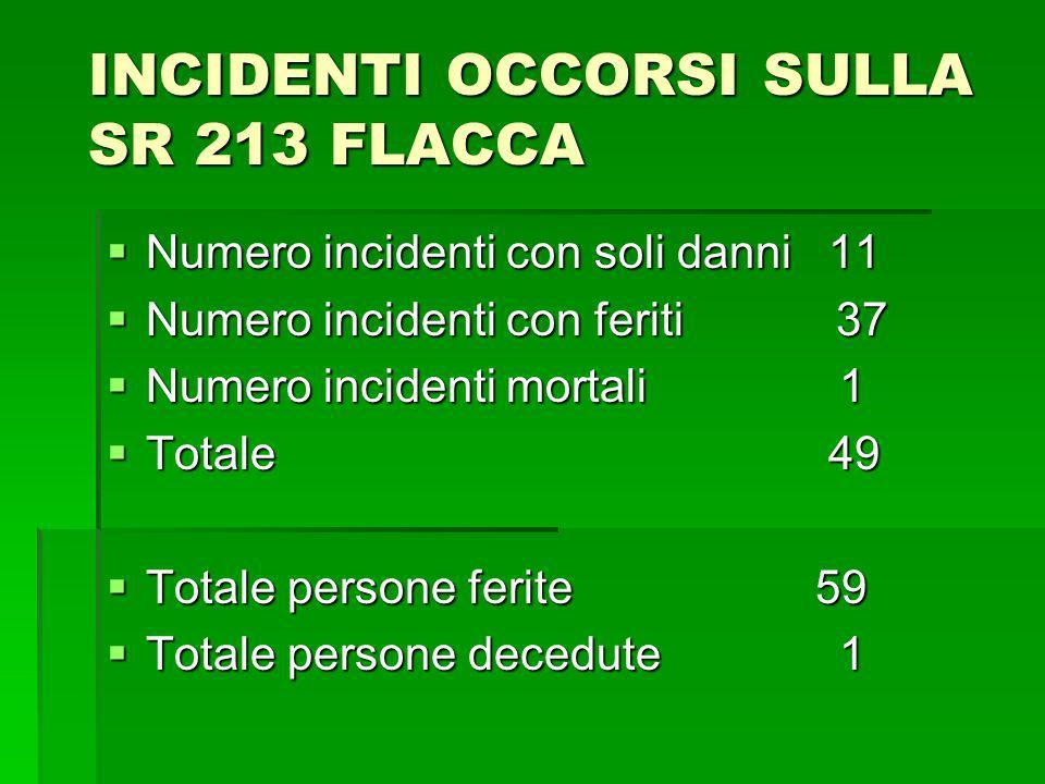INCIDENTI OCCORSI SULLA SR 213 FLACCA Numero incidenti con soli danni 11 Numero incidenti con soli danni 11 Numero incidenti con feriti 37 Numero inci