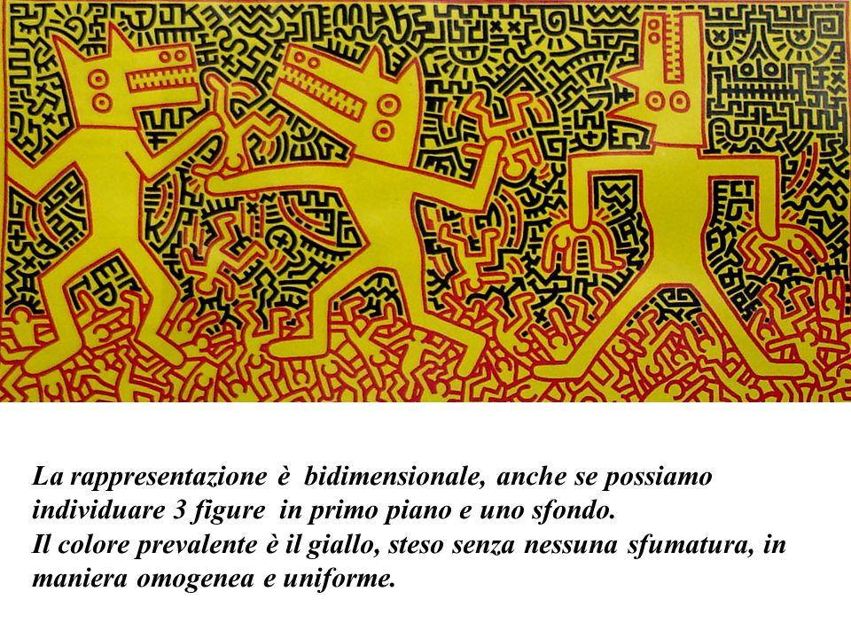 La rappresentazione è bidimensionale, anche se possiamo individuare 3 figure in primo piano e uno sfondo. Il colore prevalente è il giallo, steso senz