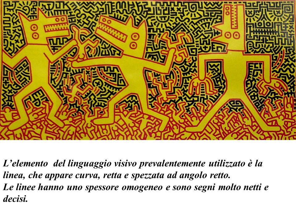 Lelemento del linguaggio visivo prevalentemente utilizzato è la linea, che appare curva, retta e spezzata ad angolo retto.