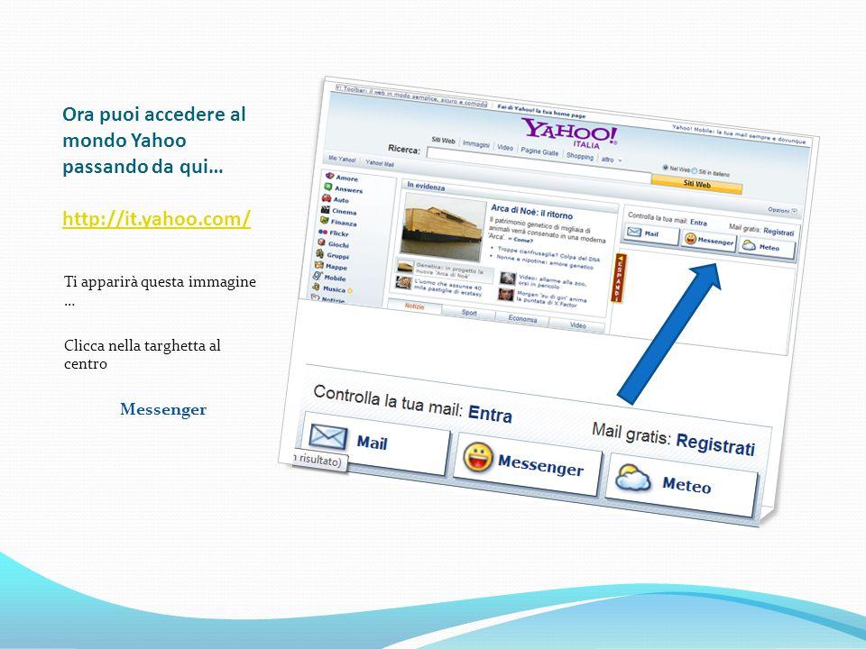Cliccando su Scarica adesso in giallo scaricherai la versione 9.0 Ti consigliamo però di scaricare la 10 alfa che puoi trovare cliccando sulla scritta … Prova il nuovo Yahoo Messenger 10 alfa