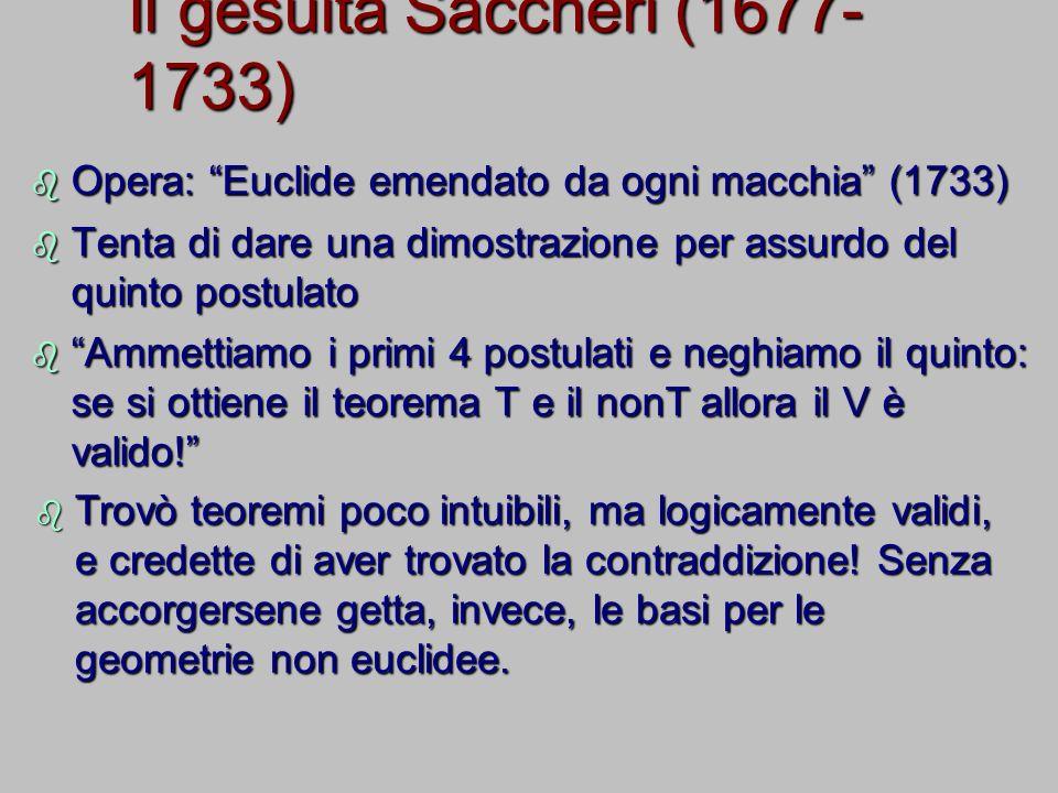 Il gesuita Saccheri (1677- 1733) Opera: Euclide emendato da ogni macchia (1733) Opera: Euclide emendato da ogni macchia (1733) Tenta di dare una dimos