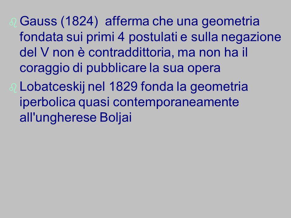 Gauss (1824) afferma che una geometria fondata sui primi 4 postulati e sulla negazione del V non è contraddittoria, ma non ha il coraggio di pubblicar
