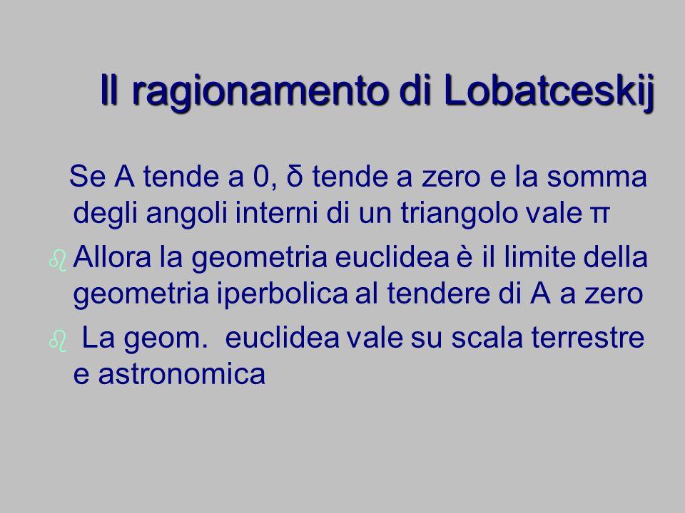 Il ragionamento di Lobatceskij Se A tende a 0, δ tende a zero e la somma degli angoli interni di un triangolo vale π Allora la geometria euclidea è il